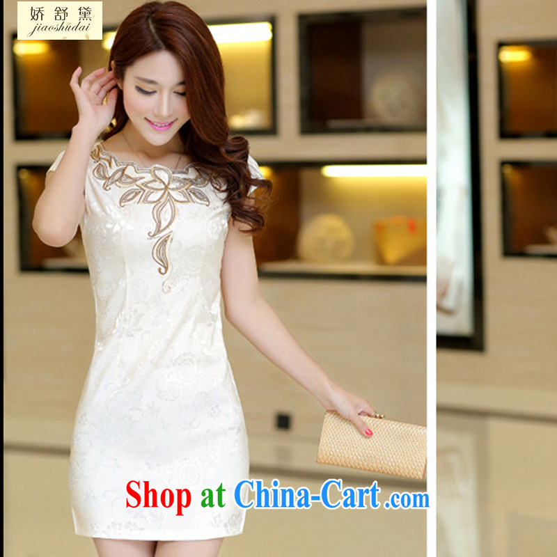 2015 new spring and summer white jacquard cotton retro daily improved cheongsam dress temperament female 33 apricot M