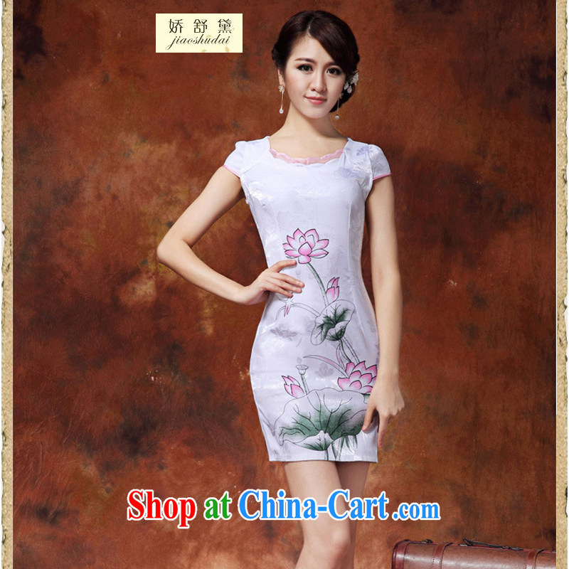 Air Shu Diane 2015 summer new Chinese Lotus figure daily short improved cheongsam dress style female 36 white M