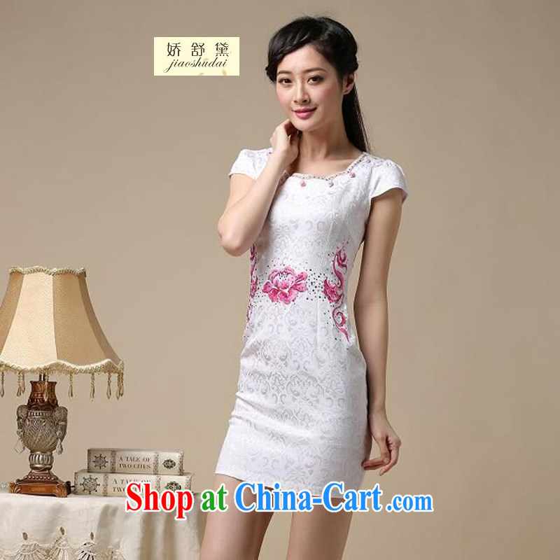 Air Shu Diane 2015 new spring and summer with black on white jacquard cotton retro daily improved cheongsam dress temperament female 50 saffron S