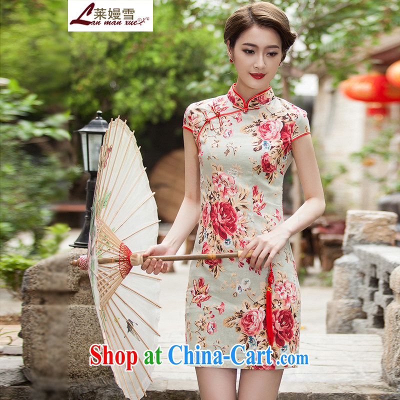 Golden Harvest, snow 2015 new Ms. beauty aura short cheongsam dress suit XL