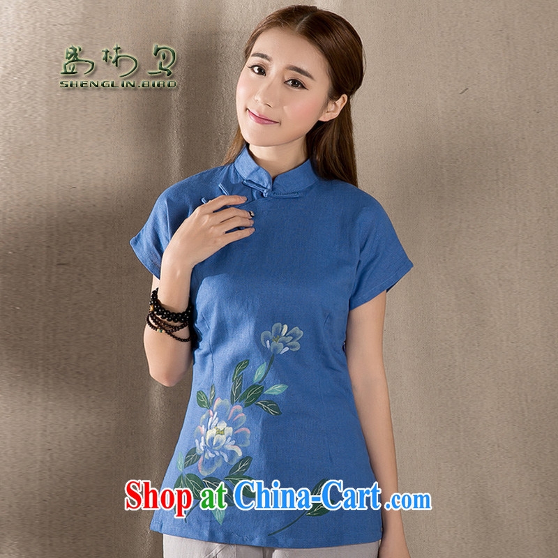 Mr Ronald ARCULLI, short Chinese qipao T-shirt retro, cotton for the female short-sleeve improved Chinese female sung lim bird 2015 the payment package mail blue M