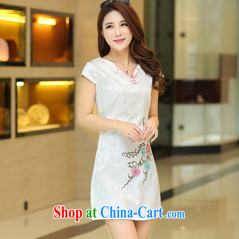 Los Angeles Summer 2015 new dresses female temperament cultivating short-sleeve embroidered cheongsam dress white XL