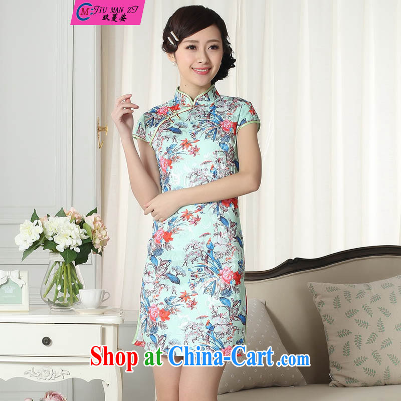 Capital city sprawl 2015 lady stylish jacquard cotton cultivation short cheongsam dress short-sleeved clothes popular dresses new Chinese qipao gown 0275 D D XXL 0282