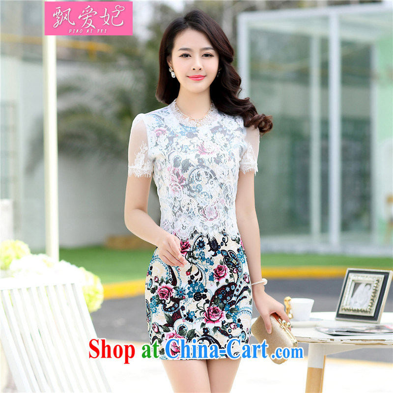 Floating Princess love 2015 new summer dresses skirts girls video thin package and short-sleeved-waist stamp antique dresses black XXL