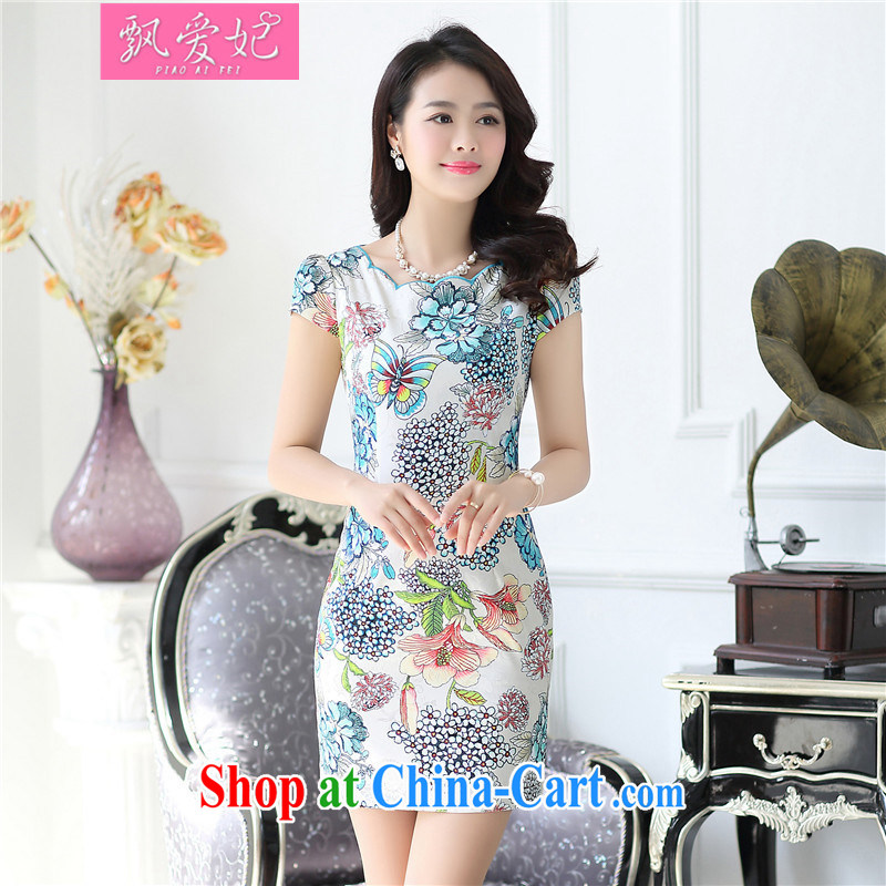 Floating Princess love 2015 new dresses retro improved short Tang decorated in blue and white porcelain summer girls dresses cheongsam dress 1518 pink L
