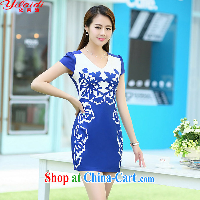 According to Tony BLAIR's 2015 summer new dresses improved stylish elegant dress short retro daily cotton robes blue XXL