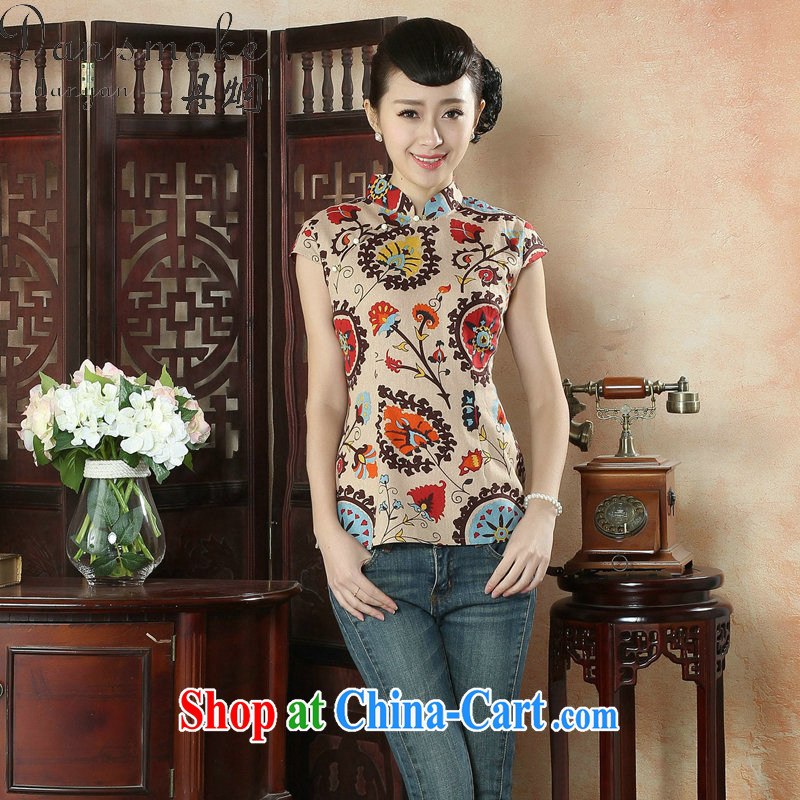 Bin Laden smoke summer new dresses T-shirt female Chinese improved arts and cultural units, the stamp duty for Chinese, T-shirt such as the color 2 XL