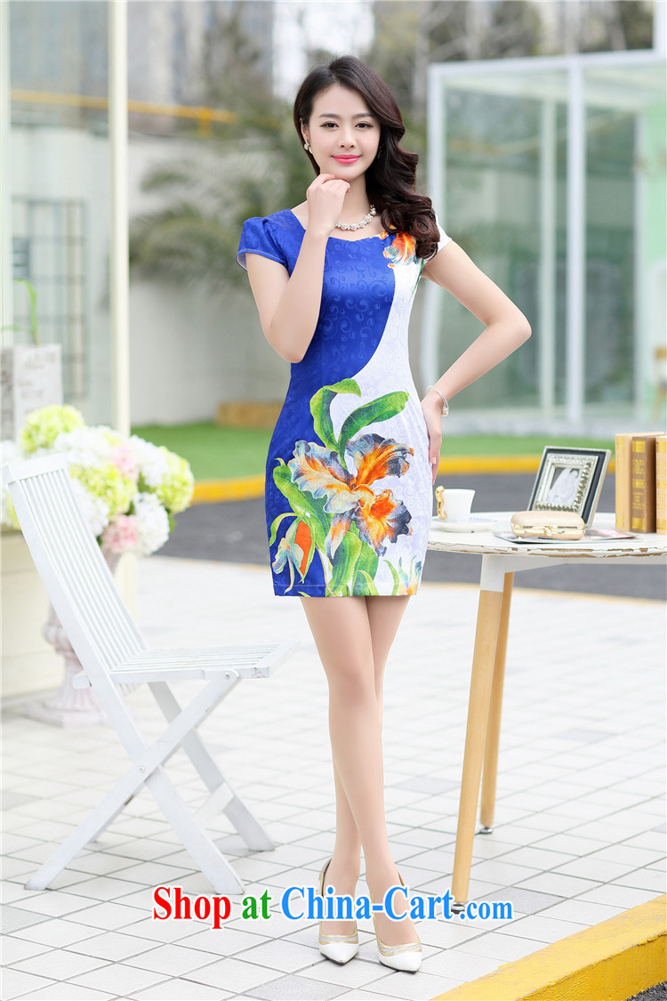 Floating love Princess cheongsam dress 2015 spring and summer new graphics thin girls improved package and short-sleeved-waist blue retro dress 1517 black XL pictures, price, brand platters! Elections are good character, the national distribution, so why buy now enjoy more preferential! Health