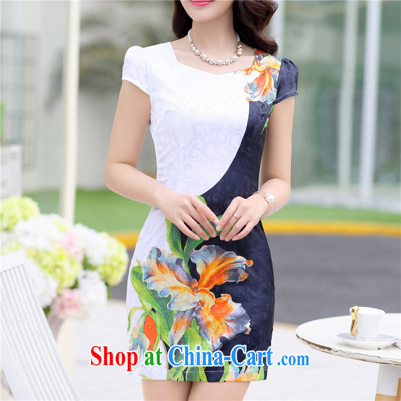Floating love Princess cheongsam dress 2015 spring and summer new graphics thin girls improved package and a short-sleeved-waist blue retro dress 1517 black XL, floating love Princess (piaoaifei), online shopping