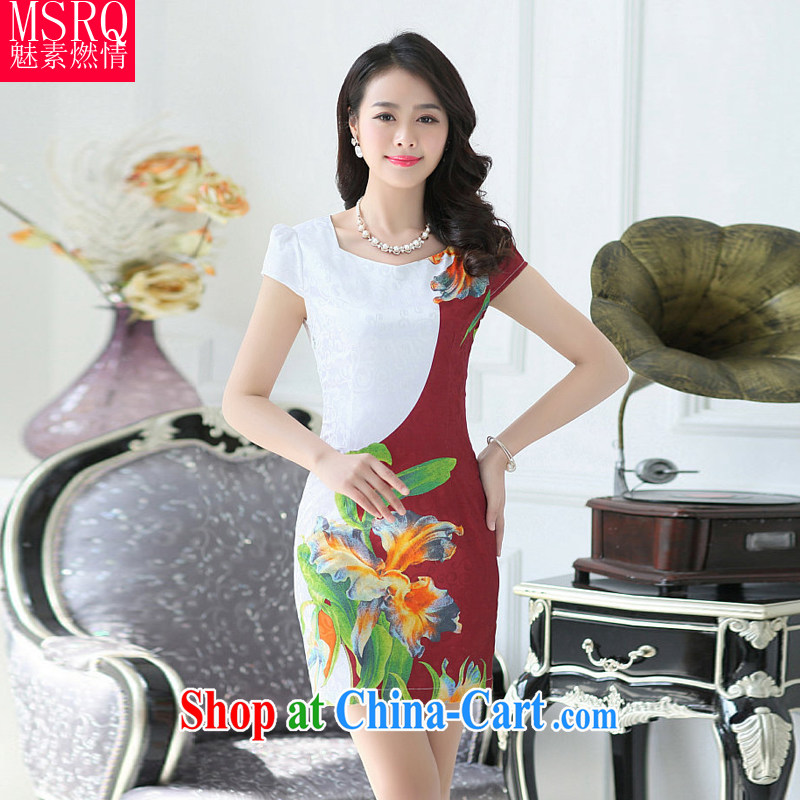 Quality of fuel, spring 2015 new Chinese Dress cheongsam dress bride toast clothing embroidered skirt is the restaurant serving Chinese dresses wine red XXL