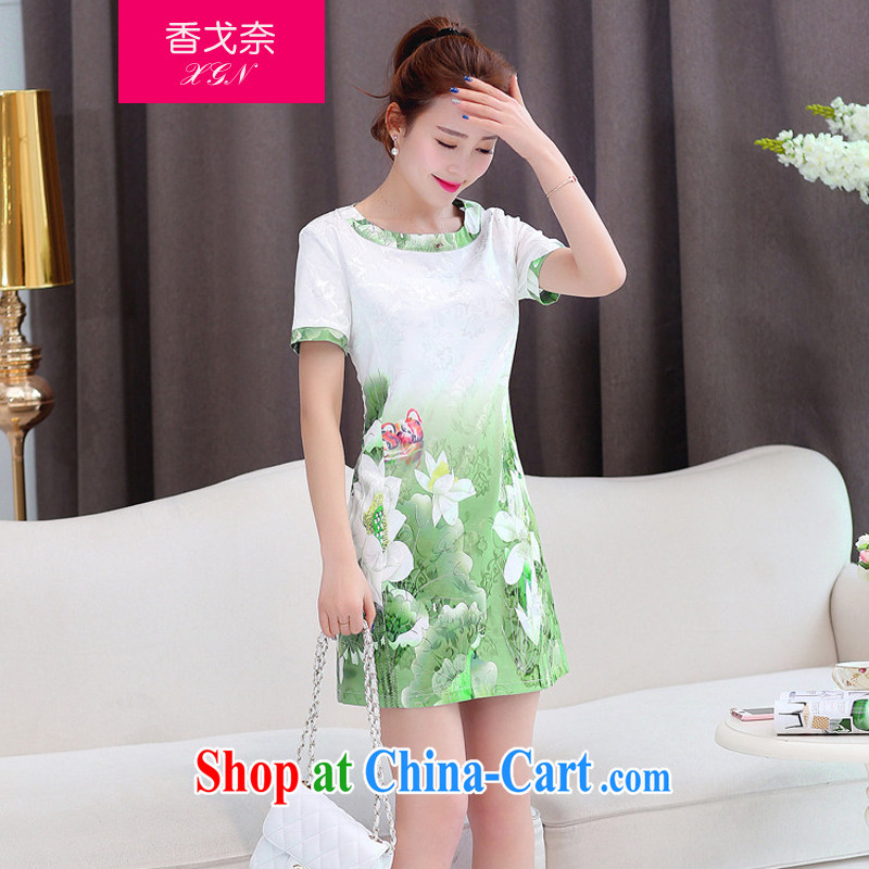 The Scent of Summer 2015 new sweet flouncing stamp round-collar cultivating cheongsam dress female Green XL