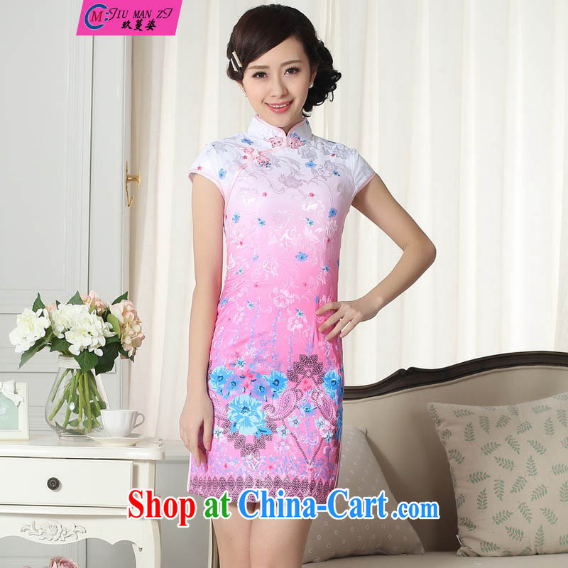 Ko Yo vines into colorful 2015 summer style and comfort Chinese cheongsam dress low the forklift truck retro short cheongsam Chinese graphics thin short cheongsam D 0279 0290 D XXL