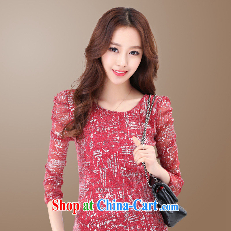 Ya-ting store 2015 spring new Korean fashion Web yarn letters loose video thin solid shirt 100 ground long-sleeved shirt T female Red-flat cuff XL