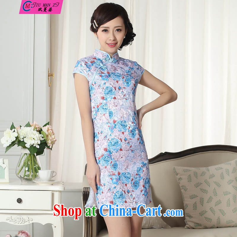 Ko Yo vines into colorful 2015 short cheongsam dress girl, stylish and elegant spring loaded, reload female short-sleeved new Chinese qipao gown 0289 D D XXL 0291
