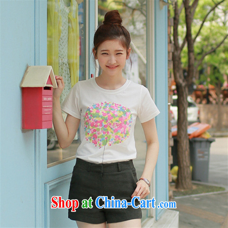 Ya-ting store T model real-time a summer new cultivating larger graphics thin geometric stamp small fresh short-sleeved T-shirt woman white XXL