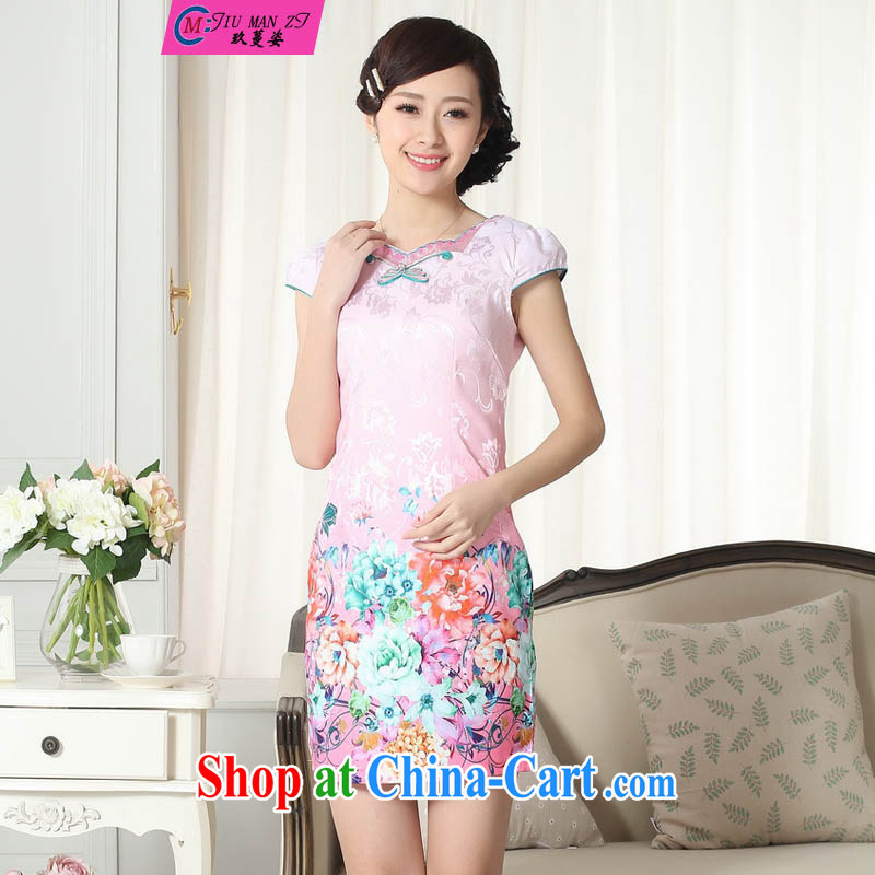 Ko Yo vines into colorful dresses 2015 new summer elegance Chinese qipao retro cultivating Chinese improved graphics thin short cheongsam D 0298 0299 D XXL