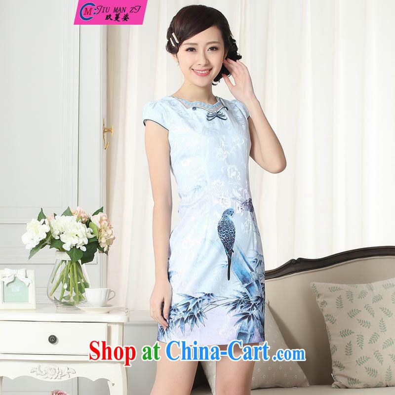 Ko Yo Mephidross colorful retro improved version cultivating graphics thin short cheongsam 2015 Chinese qipao short-sleeve spring blue elegant short cheongsam D D 030 0301 XXL