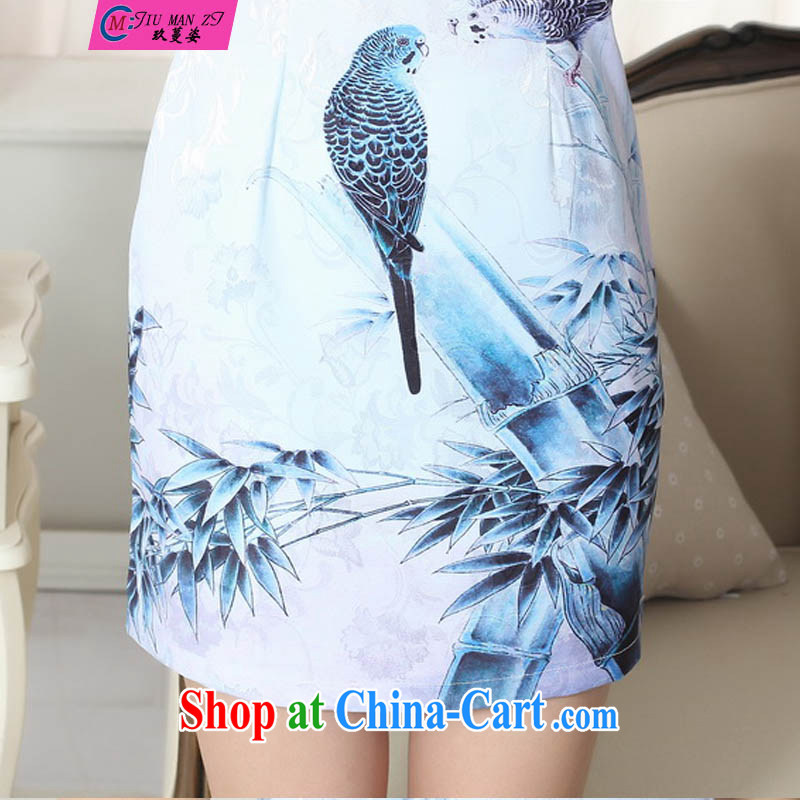 Ko Yo vines into colorful retro improved version cultivating graphics thin short cheongsam 2015 Chinese qipao short-sleeve spring blue elegant short cheongsam D 030 0301 D XXL, capital city sprawl, shopping on the Internet