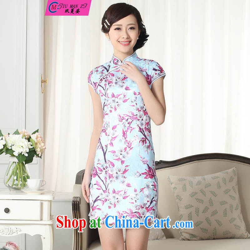 Ko Yo vines into colorful new summer dress short cheongsam dress short-sleeved replace your air Chinese qipao short-sleeved short dresses, casual D 057 0259 D XXL