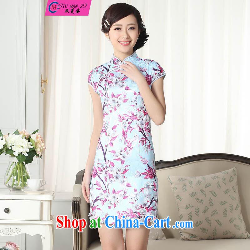 Ko Yo vines into colorful new summer dress short cheongsam dress short-sleeved replace your air Chinese qipao short-sleeved short dresses, casual D 057 0259 D XXL