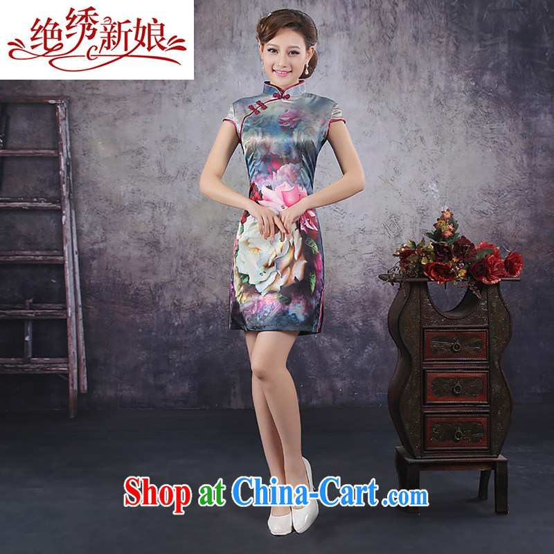 There is embroidery bridal 2015 summer improved stylish short-sleeve cheongsam dress high-end ice silk silk large rose cheongsam QP - 361 XXL Suzhou shipping