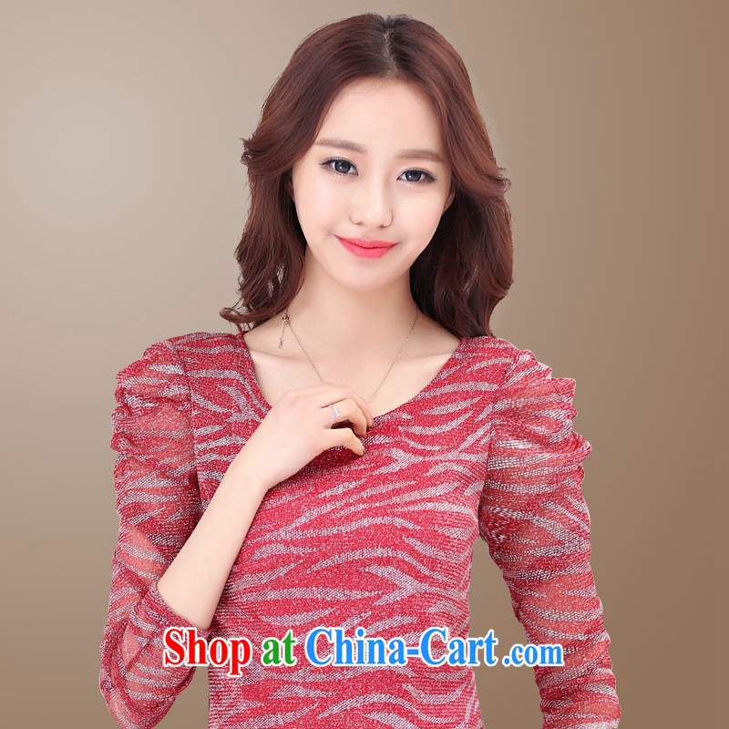 Ya-ting store 2015 spring new Korean fashion Internet streaming by cultivating solid shirt 100 ground T long-sleeved shirt blue - Flat cuff XL