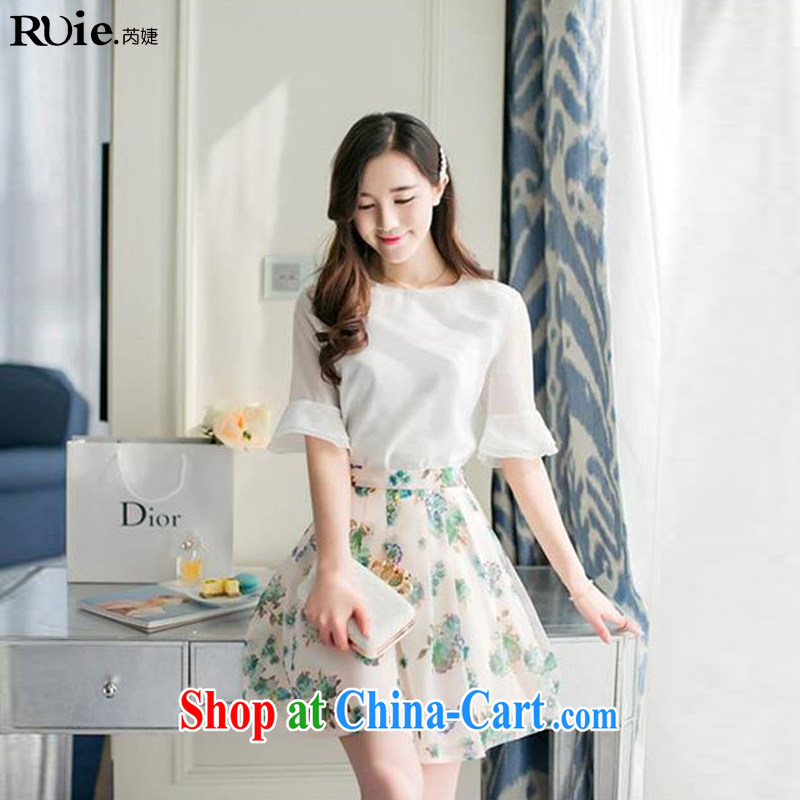 Close with spring loaded new female Korean two-piece stamp snow woven dresses semi-dress and clothing blue XL