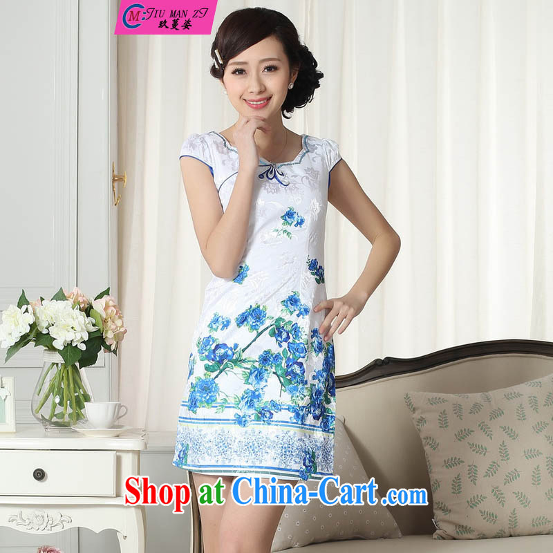 Capital city sprawl 201 short cheongsam dress China wind retro short cheongsam dress improved version short-sleeved elegance Tang qipao D 0302 0303 D XXL