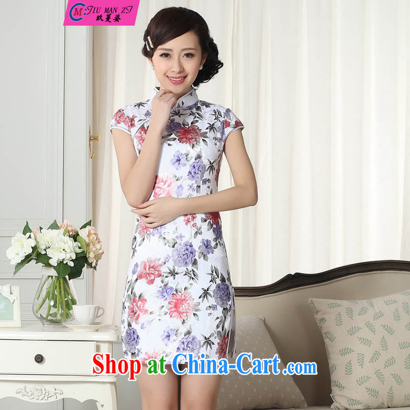 Ko Yo Mephidross beauty lady stylish jacquard cotton cultivating short cheongsam dress spring dress breathable beauty with new Chinese qipao gown 0285 D D XXL 0286