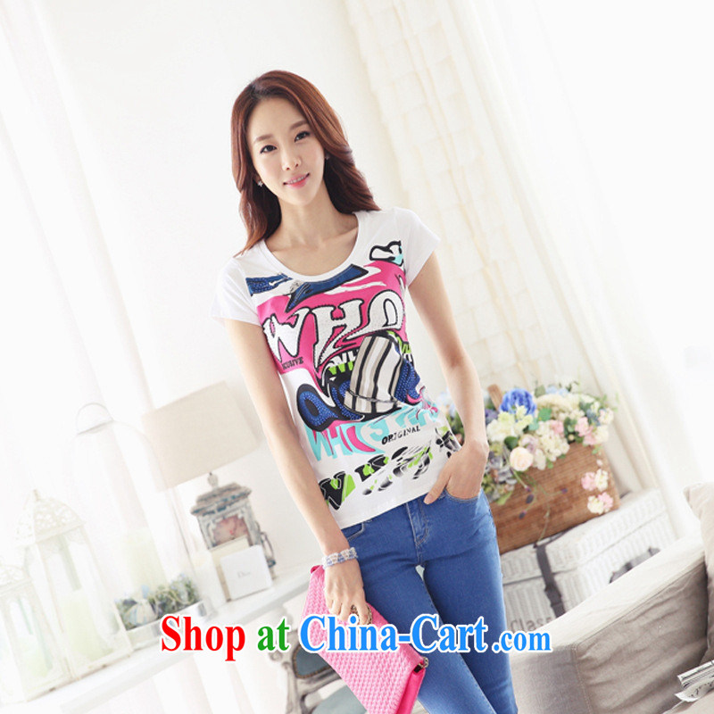 Ya-ting store summer 2015 new Korean female beauty larger half sleeve T-shirt stamp graphics thin stylish 100 ground T pension white 2XL