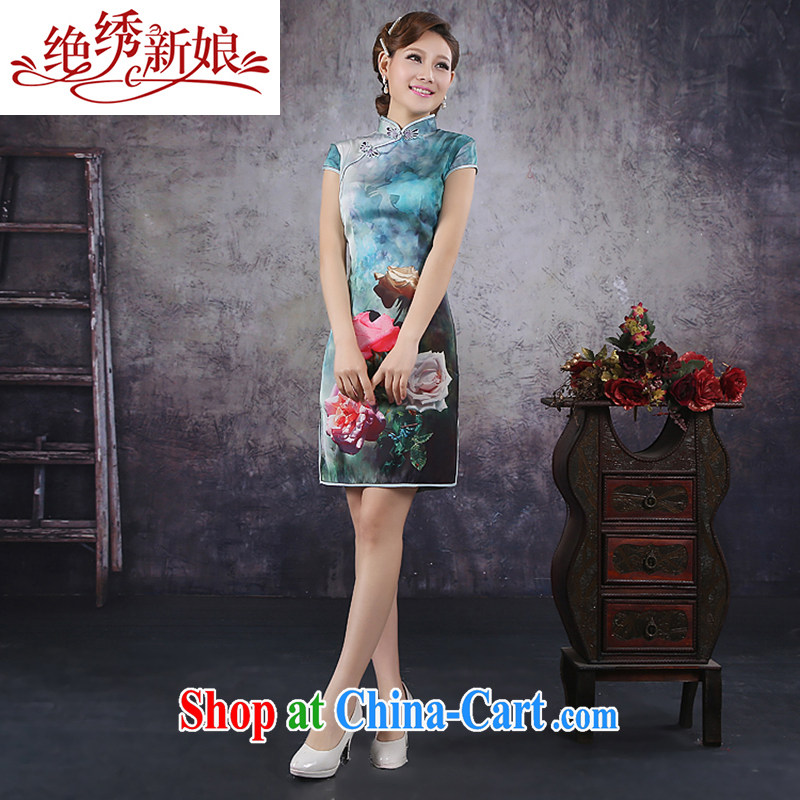 There is embroidery bridal 2015 summer improved stylish short-sleeve cheongsam dress high-end ice silk rose cheongsam QP - 362 XXL Suzhou shipping