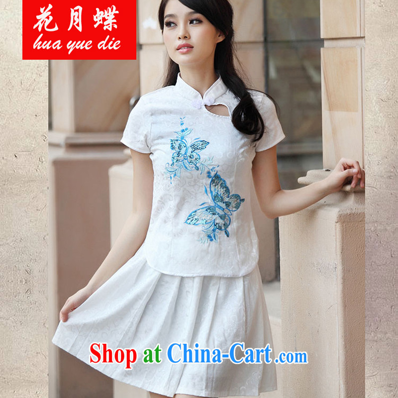 spend months summer dish with new elegant retro fresh Chinese to Butterfly cheongsam dress JE RA 044 6908 blue XL