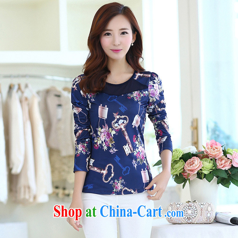 Ya-ting store 2015 spring new Korean fashion beauty larger graphics thin stamp round-collar long-sleeved shirt T female suit 2 XL