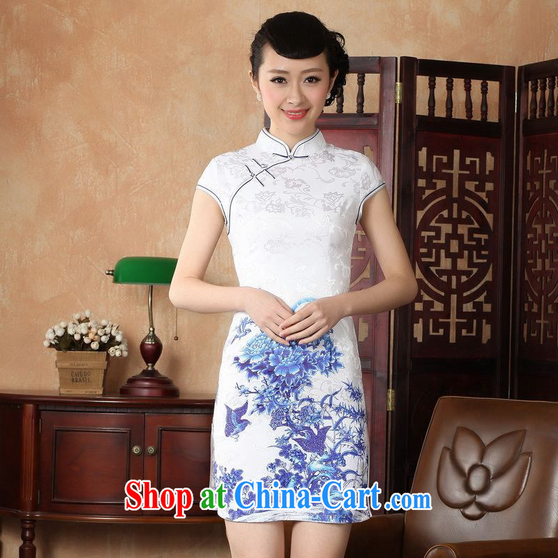 Property is still property, Ms. Tang cheongsam dress with dress improved national wind antique stamp cheongsam dress dress D 0228 - A 2 XL