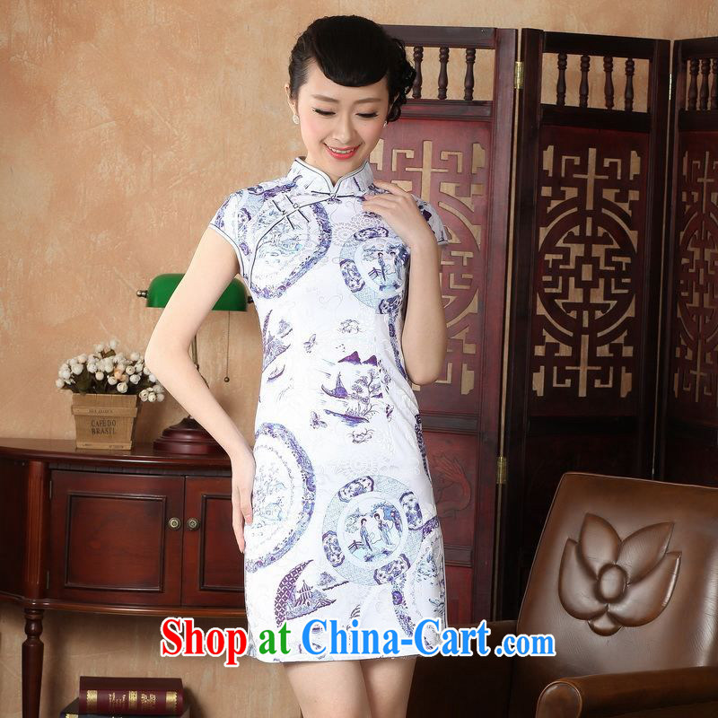 Floor is floor Lady Jane, Tang with improved cheongsam cheongsam dress summer elegant and stylish beauty dresses picture color 2 XL, floor is still building, and shopping on the Internet
