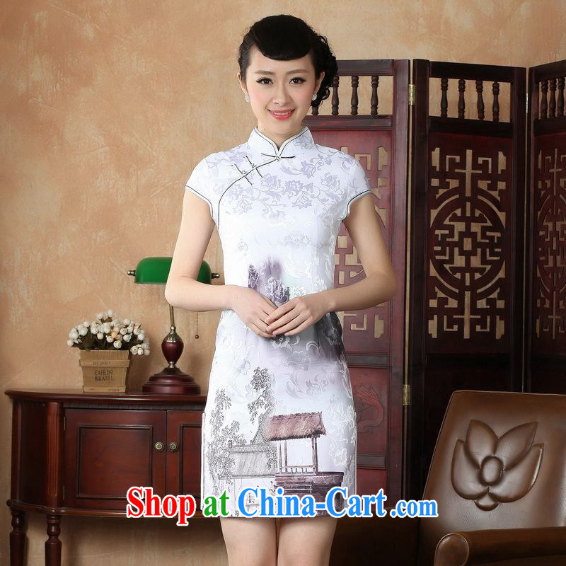 Property is still property, Ms. Tang cheongsam dress summer improved national wind antique stamp cheongsam dress dress picture color 2 XL