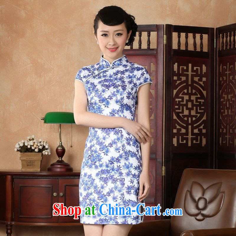 Property is still property, Ms. Tang cheongsam dress with dress improved national wind antique stamp cheongsam dress dress picture color 2 XL