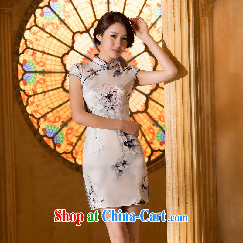 The cross-sectoral water Elizabeth the new dresses summer daily improved cheongsam dress dress bank painting cheongsam dress ZA 060 ink XL