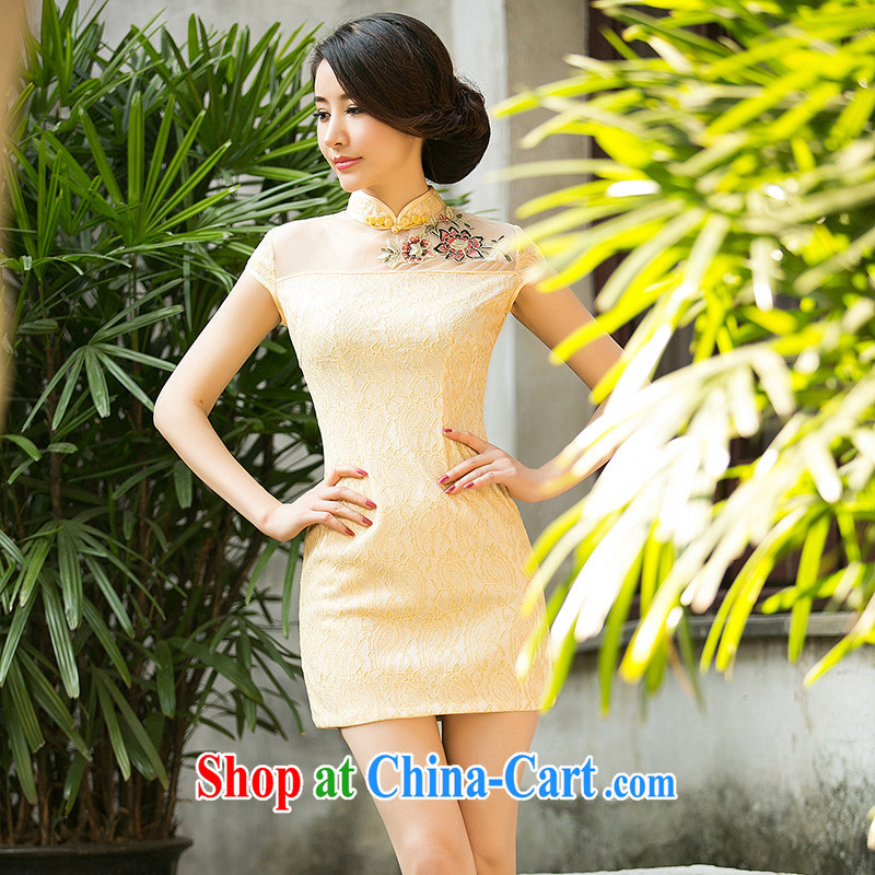 The cross-sectoral summer Elizabeth Yee new dresses summer daily improved cheongsam dress dress, lace antique cheongsam dress ZA 087 light yellow L