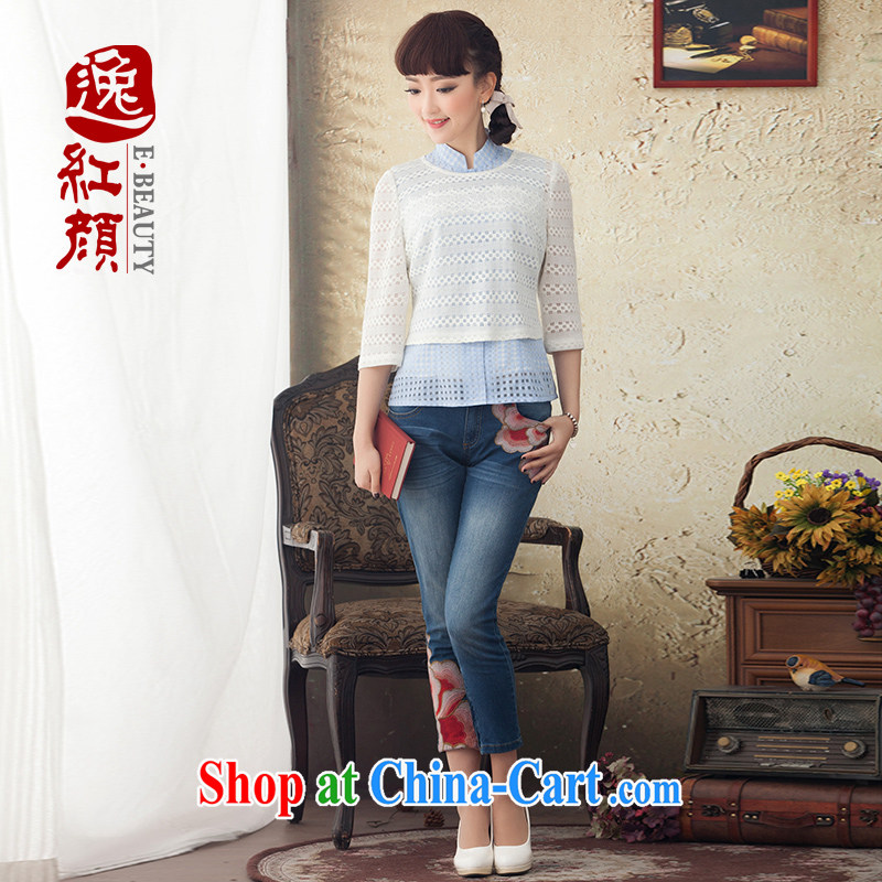 once and for all and take proverbial hero in the film improved long-sleeved T-shirt outfit spring and summer National wind Kit Chinese 2015 Ms. new white XL