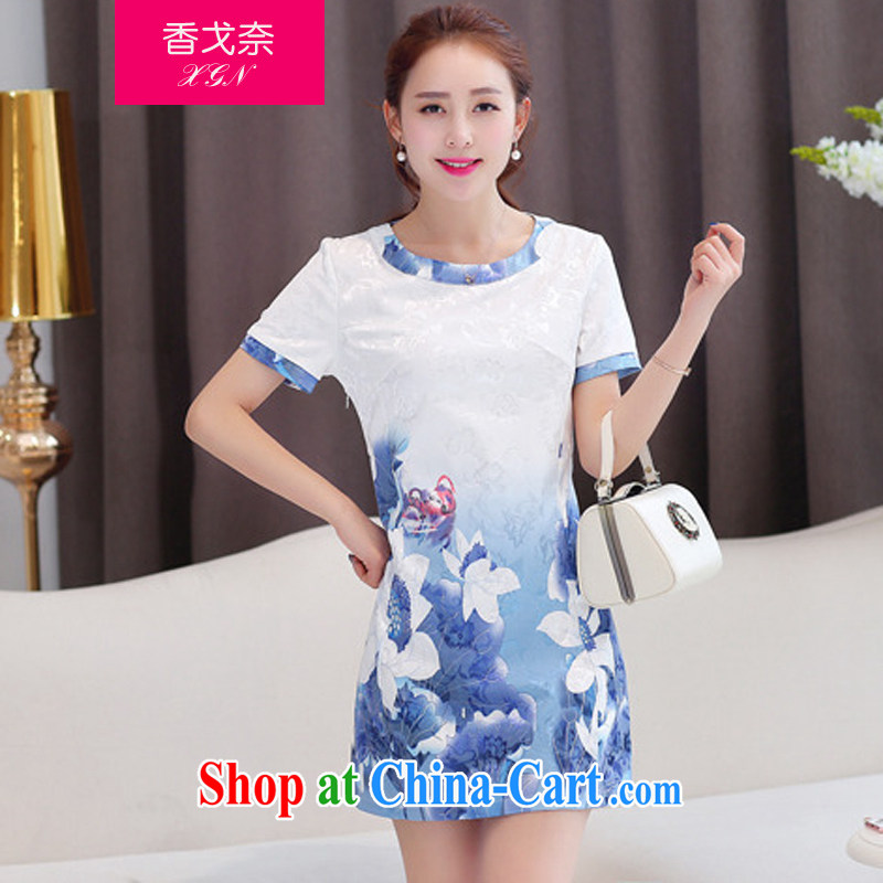 The beautiful valley summer 2015 new sweet flouncing stamp round-collar cultivating cheongsam dress female blue M