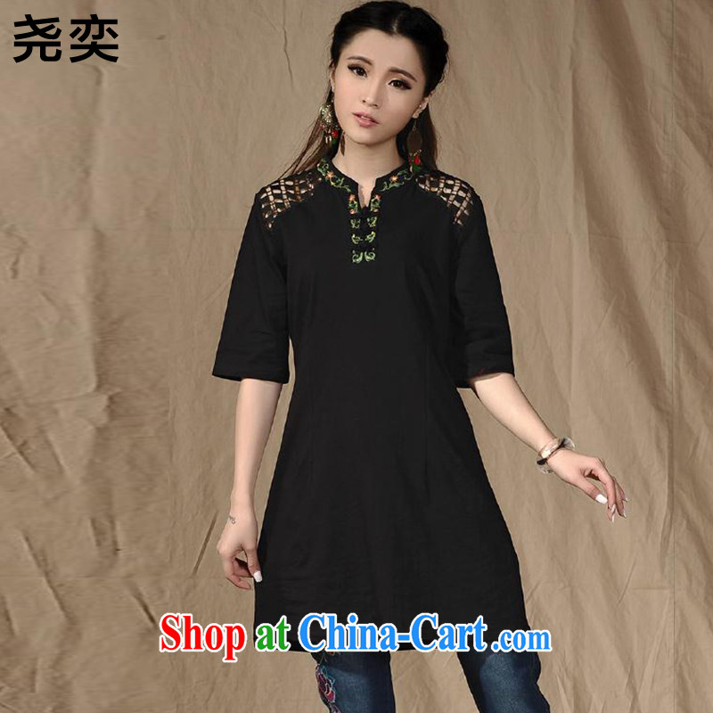 Yao Yi _YAOYI_ 2015 new female Ethnic Wind up for stitching Openwork embroidery cuff in a field for cotton A-dress 6848 black XXL