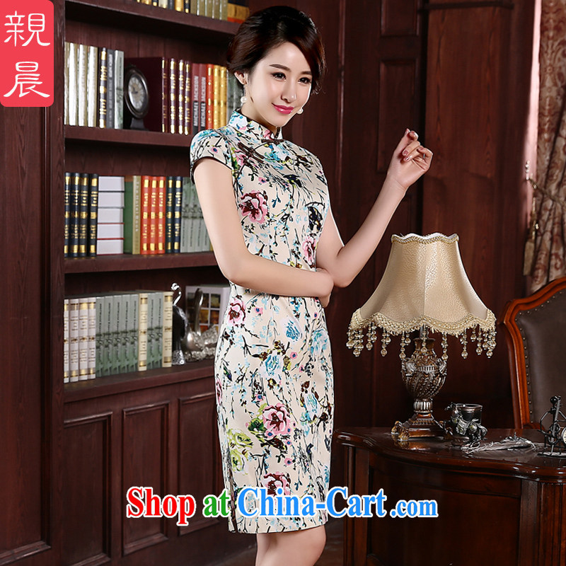 pro-am 2015 new cheongsam dress spring and summer is short, short-sleeved Sau San, qipao dress improved stylish short 2 XL - 20 day shipping