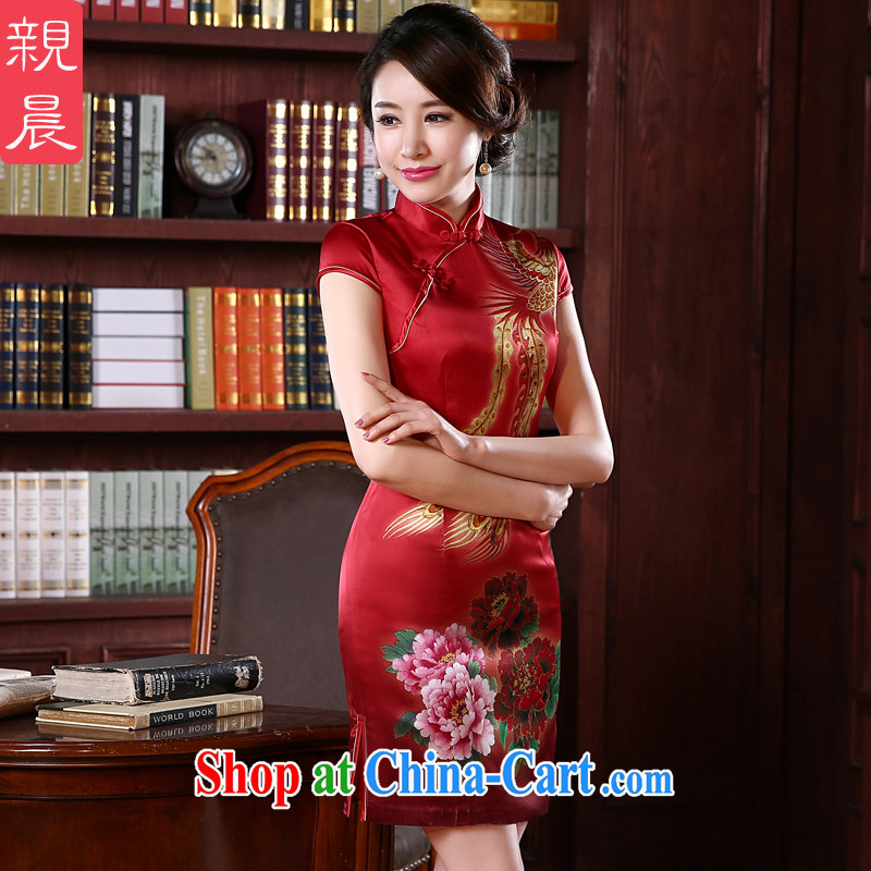 pro-am 2015 New Silk Cheongsam dress spring and summer retro short, DOS SANTOS day Silk Cheongsam dress short 2 XL - 5 day