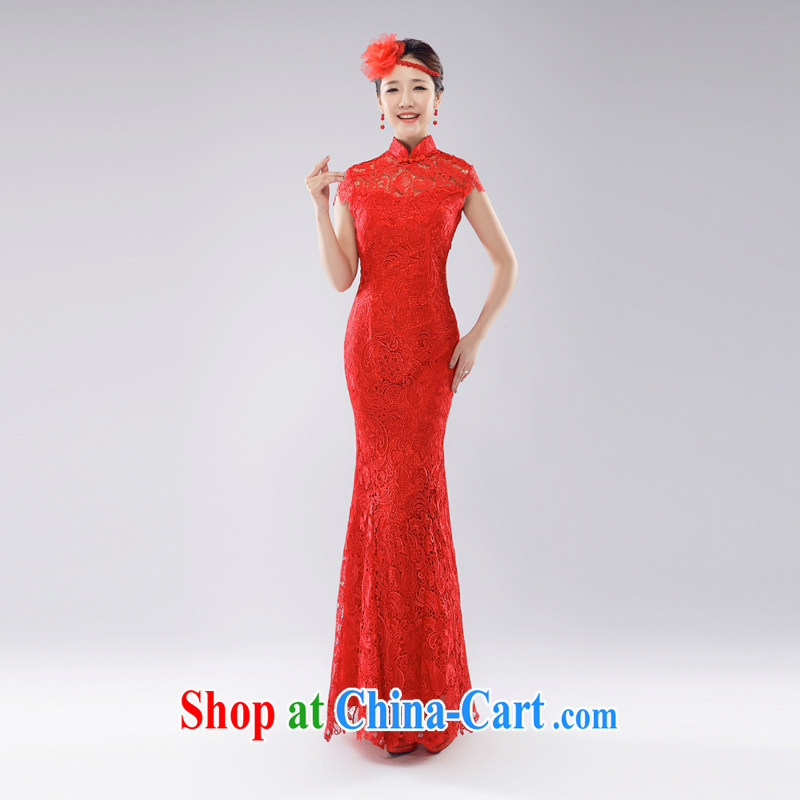 (Hong Kong, health, wedding dresses back exposed cheongsam dress wedding bridal toast clothing crowsfoot lace red long, new and improved, China wind married Yi 2015 spring and summer red L