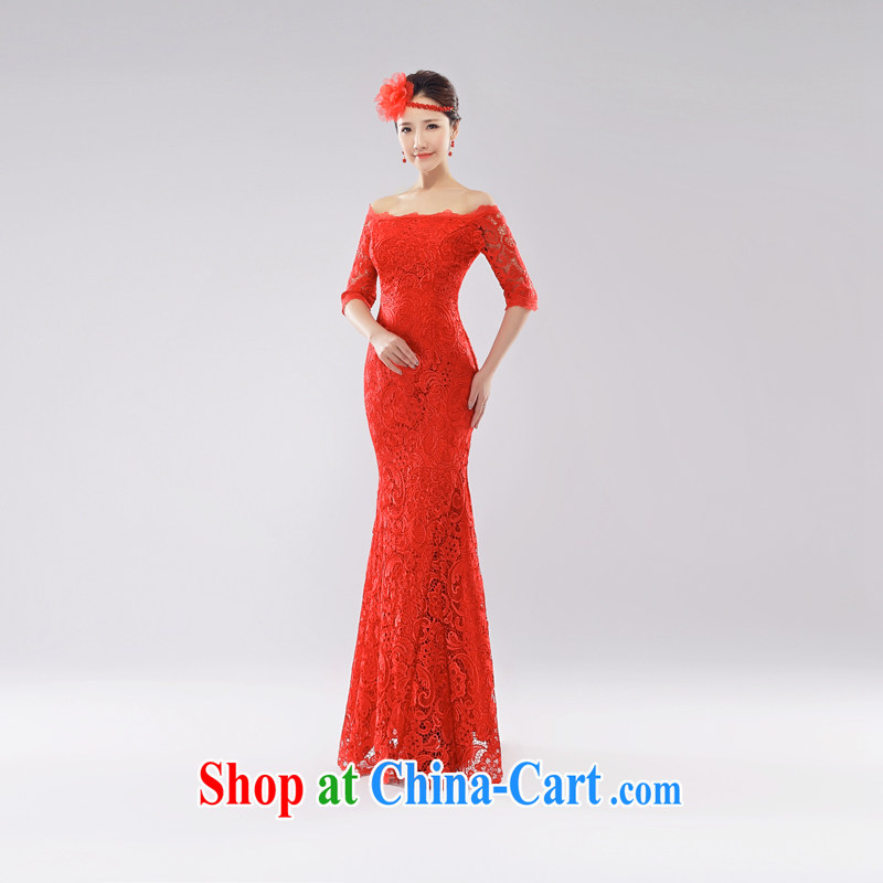The Champs Elysees, as soon as possible, 2015 spring and summer new bride toast service improved cheongsam Stylish retro red lace a qipao shoulder strap cultivating red L