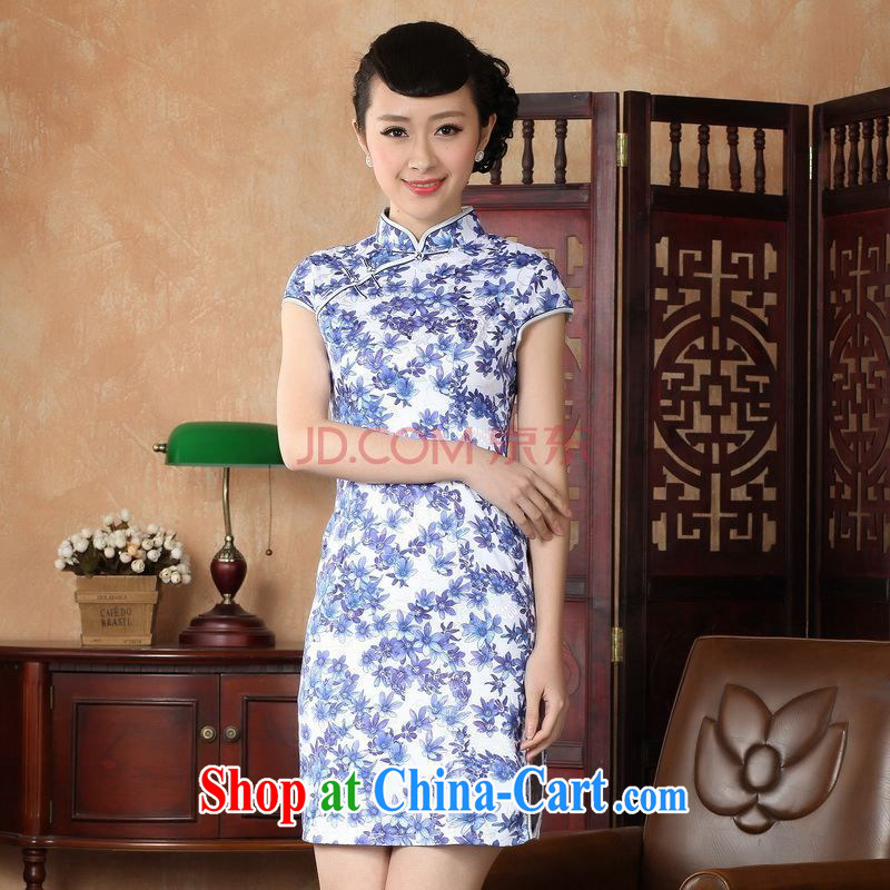 Nigeria, the cheongsam dress, Ms. Tang fitted dresses improved national wind antique stamp duty cheongsam dress dress picture color XXL