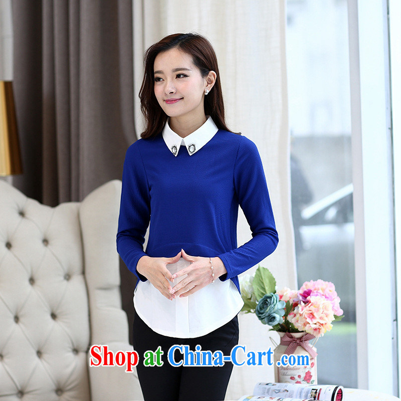 Spring 2015 new Korean knitting kits and solid T-shirt Girl Doll for thin long-sleeved, the code female blue M
