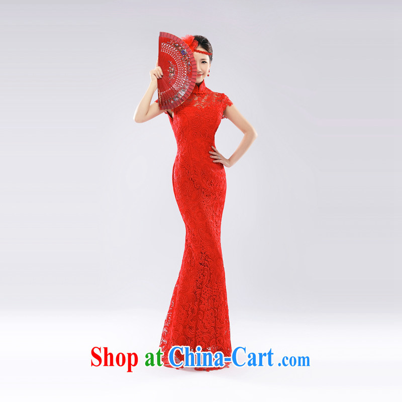 _Hong Kong, health, wedding dresses wedding dresses bridal toast serving crowsfoot lace red long, new and improved, China wind 2015 red L