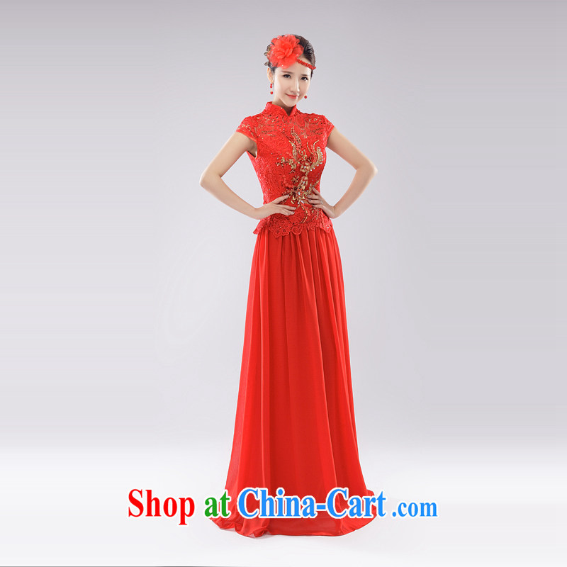 The Champs Elysees, as soon as possible, 2015 summer new toast service improved cheongsam red long stylish retro lace beauty wedding dresses red L